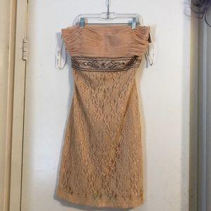 NWT peach strapless dress